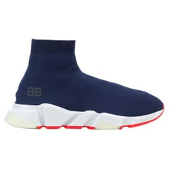 Balenciaga BB Men's Speed Mid-top Trainer Sock Sneakers Blue and Orange