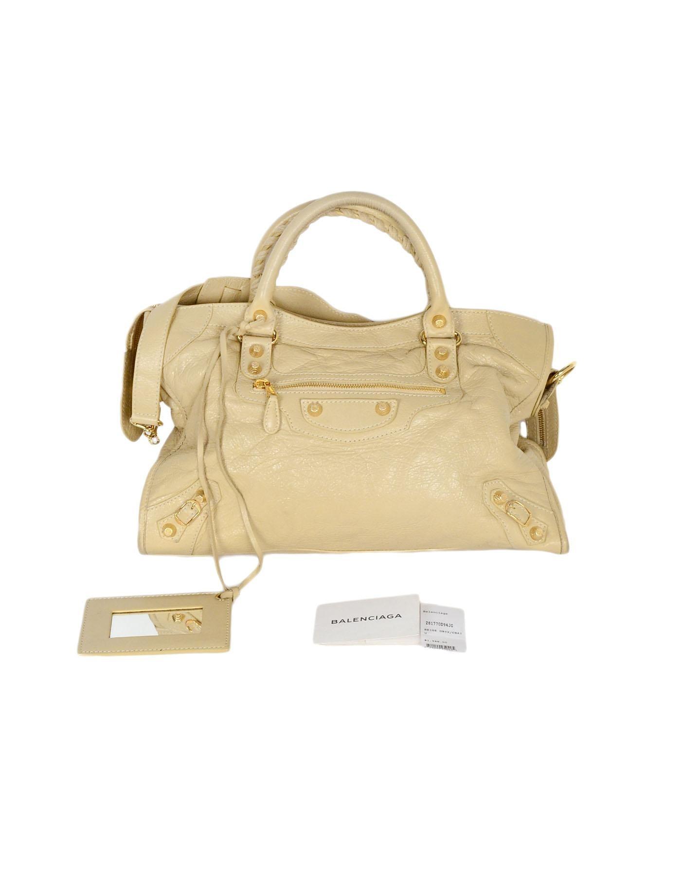photos officielles d7792 a1840 Balenciaga Beige Agneu Leather Giant 12 Gold City Bag