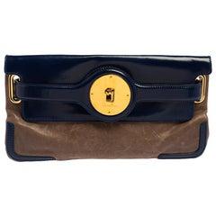 Balenciaga Beige/Blue Leather Luna Clutch