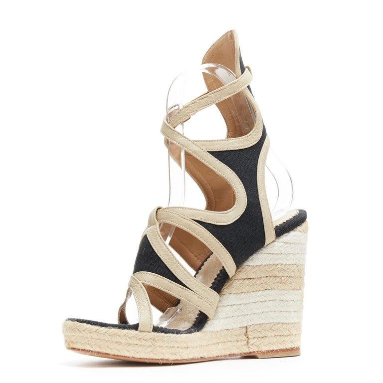 BALENCIAGA beige leather black canvas strappy gladiator espadrille platform EU38 In Excellent Condition For Sale In Hong Kong, NT