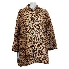 BALENCIAGA beige LEOPARD nylon OVERSIZED WINDBREAKER Coat Jacket 36 XS