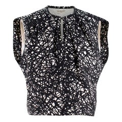 Balenciaga Black and White Printed Silk Sleeveless Top 34
