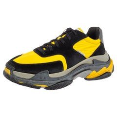 Balenciaga Black And Yellow Suede And Fabric Triple S Platform Sneakers Size 45