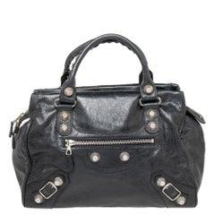 Balenciaga Black Anthracite Leather Giant Hardware Midday Bag