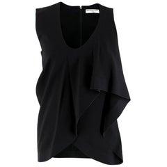 Balenciaga Black Asymmetric-Overlay Crepe Top XS