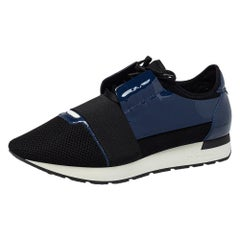 Balenciaga Black/Blue Patent Leather And Mesh Runner Lace Up Sneakers Size 43