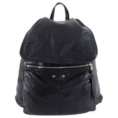 Balenciaga Black City Moto Traveller Backpack Bag