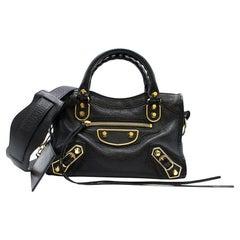 Balenciaga Black Classic Metallic Edge Mini City Bag