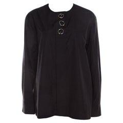 Balenciaga Black Cotton Metal Button Detail Long Sleeve Blouse M