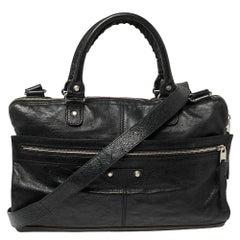 Balenciaga Black Crinkled Leather Briefcase Bag