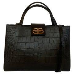 Balenciaga Black Crocodile Embossed Sharp M Tote Bag w. Strap