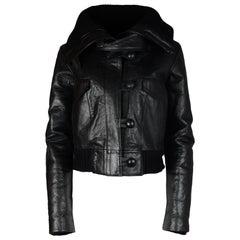 Balenciaga Black Cropped Leather Bomber Jacket W/ Knit Cowl Neck Sz 6