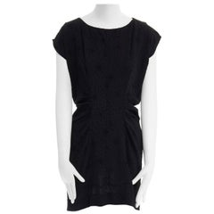 BALENCIAGA Black Dress velvet dot rusched waist mini dress S FR36 US4