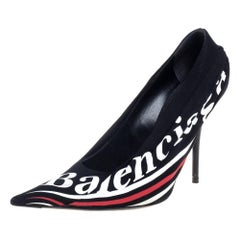 Balenciaga Black Fabric And Leather Knife Logo Pointed Toe Pumps Size 39.5