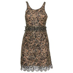 Balenciaga Black & Gold Lace Sleeveless Mini Dress S