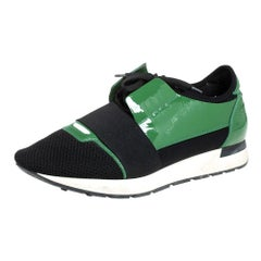 Balenciaga Black/Green Mesh And Patent Leather Runner Lace Up Sneakers Size 42