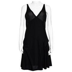 Balenciaga Black Knit Perforated Detail Sleeveless Dress L