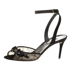 Balenciaga Black Lace Embellished Ankle Strap Sandals Size 38