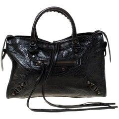 Balenciaga Black Leather Aj GH Classic City Tote