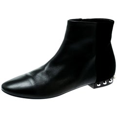 Balenciaga Black Leather And Suede Studded Ankle Boots Size 39.5