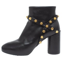 Balenciaga Black Leather Arena Studded Block Heel Ankle Boots Size 35.5