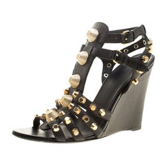 Balenciaga Black Leather Arena Studded Gladiator Wedge Sandals Size 40.5