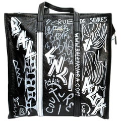 Balenciaga Black Leather Bazar Graffiti Bag