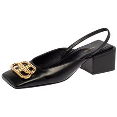 Balenciaga Black Leather BB Logo Square Toe Slingback Sandals Size 35.5