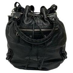 Balenciaga Black Leather Bucket Bag with Silver Hardware