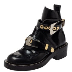 Balenciaga Black Leather Ceinture Ankle Boots Size 36
