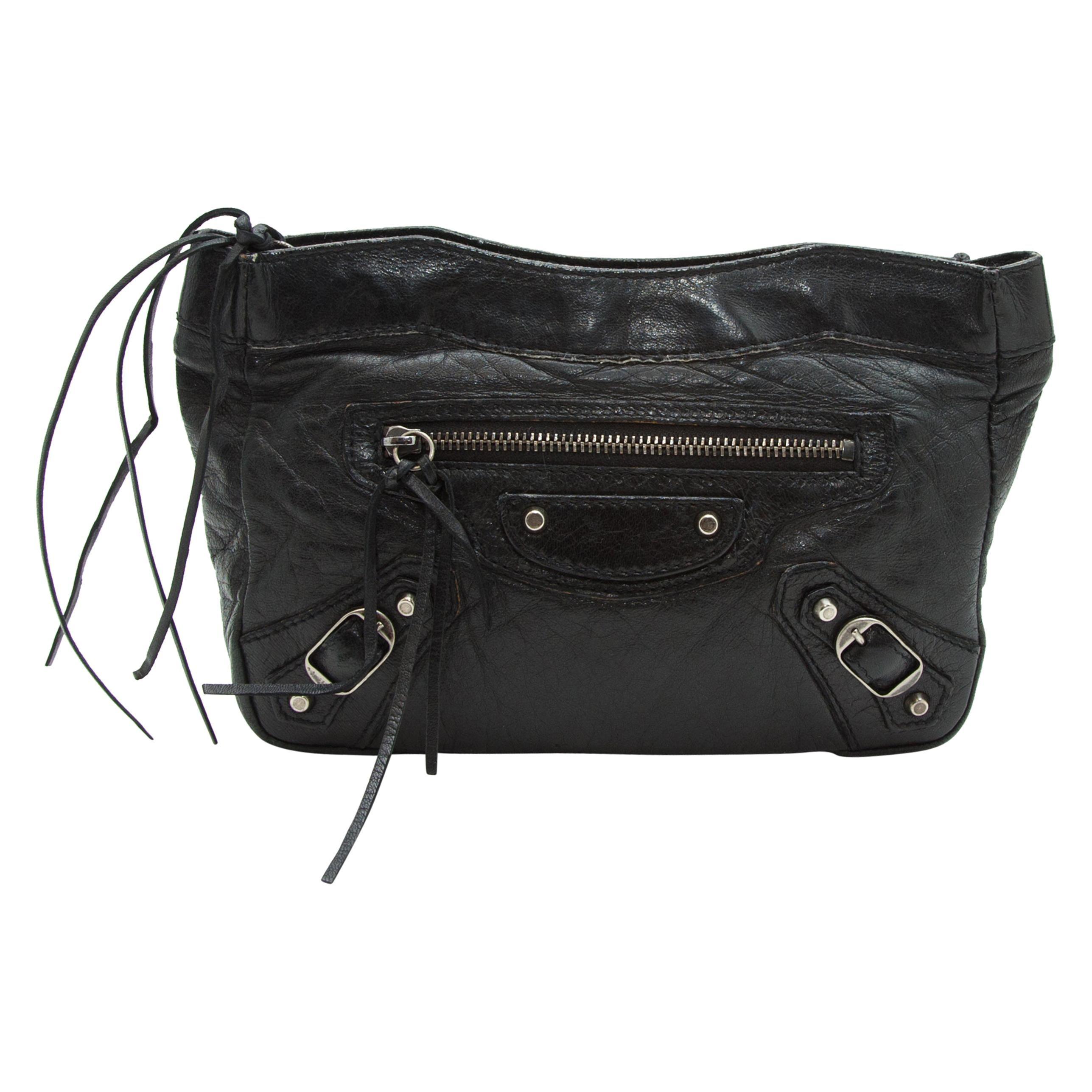 Balenciaga Black Leather Cosmetic Pouch