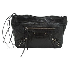 Balenciaga Black Leather Cosmetic Pouch