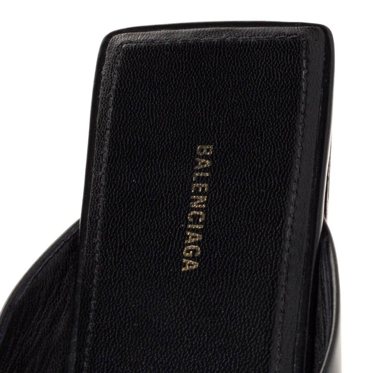 Balenciaga Black Leather Double Square BB Flat Mules Size 38 For Sale 2