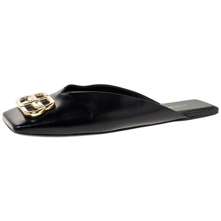 Balenciaga Black Leather Double Square BB Flat Mules Size 38 For Sale