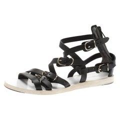 Balenciaga Black leather Gladiator Flat Sandals Size 35.5