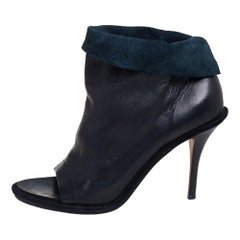 Balenciaga Black Leather Glove Open Toe Ankle Boots Size 39