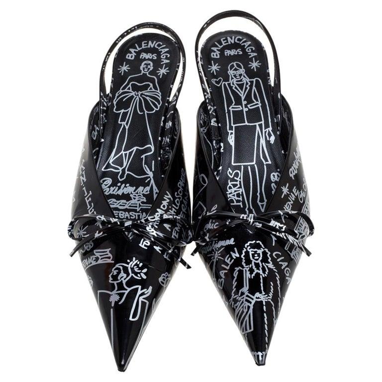 Balenciaga Black Leather Graffiti Knife Slingback Pumps Size 38 In Good Condition For Sale In Dubai, Al Qouz 2