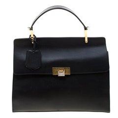 Balenciaga Black Leather Le Dix Cartable Top Handle Bag