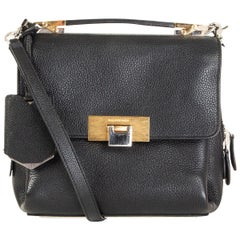 BALENCIAGA black leather LE DIX MINI Crossbody Satchel Bag
