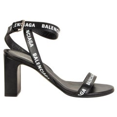 BALENCIAGA black leather LOGO BLOCK HEEL Sandals Shoes 36.5