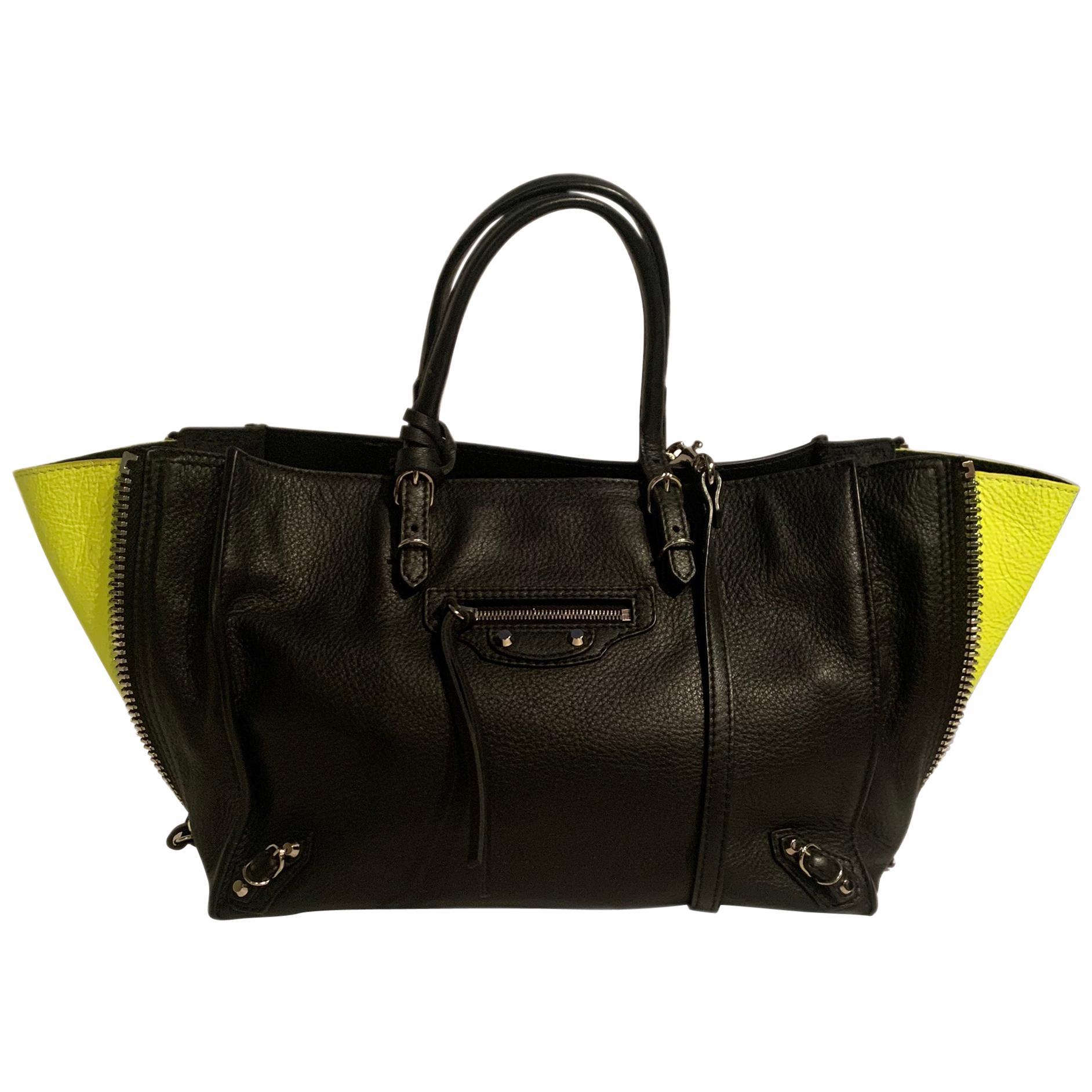 Balenciaga Black Leather Mini Papier A4 Crossbody Tote Bag w/ Neon Accents