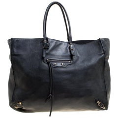 Balenciaga Black Leather Papier A4 Tote