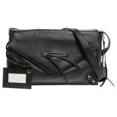 Balenciaga Black Leather Papier Envelope Zip Around Bag