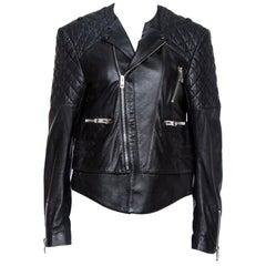 Balenciaga Black Leather Quilted Detail Biker Jacket L