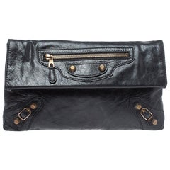 Balenciaga Black Leather RGH Envelope Clutch