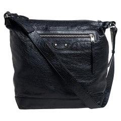 Balenciaga Black Leather RH Day Messenger Bag