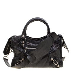 Balenciaga Black Leather Silver Hardware Mini City Bag