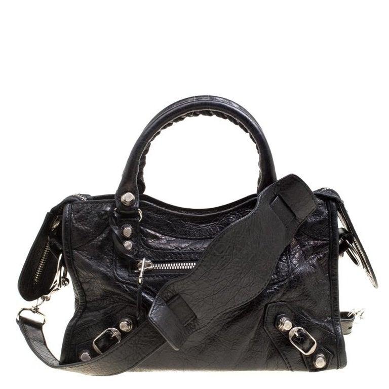 8675d2fdeb Balenciaga Black Leather Silver Hardware Mini City Bag at 1stdibs