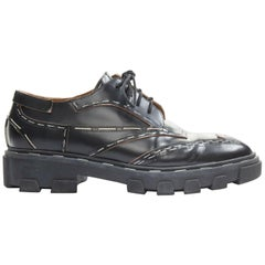 BALENCIAGA black leather silver staple chunky ridged sole punk derby shoes EU39