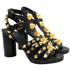 Balenciaga Black Leather Studded Heeled Sandals 36